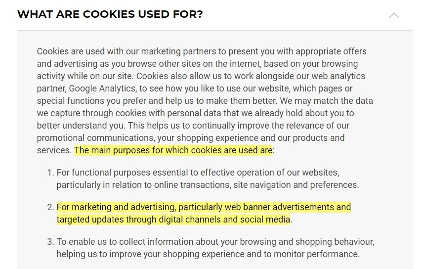 Gymshark Cookie Policy: Excerpt of What are cookies used for clause - Marketing, advertising and social media section highlighted