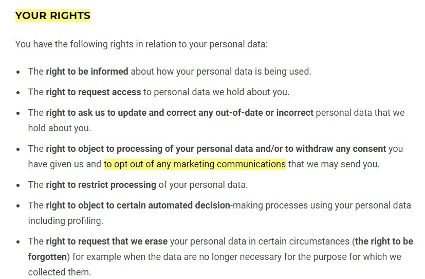 Gymshark Privacy Policy: Your Rights clause