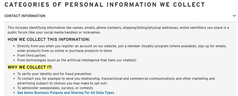 Levis Privacy Policy: Categories of Personal Information We Collect clause - Contact Information - Why We Collect It section highlighted