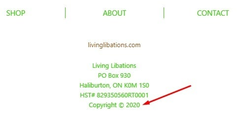 Living Libations email footer with Copyright Notice highlighted