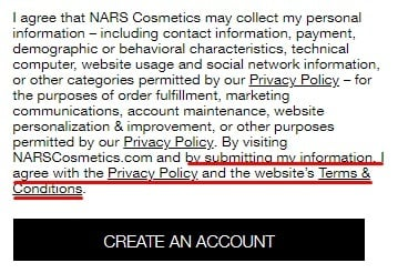 NARS Cosmetics: Create account page with I Agree to Privacy Policy and Terms and Conditions highlighted