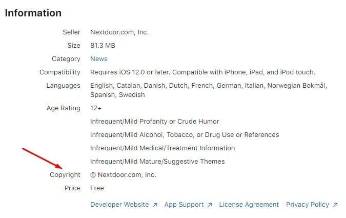 Nextdoor Apple App Store listing - Information - Copyright Notice highlighted