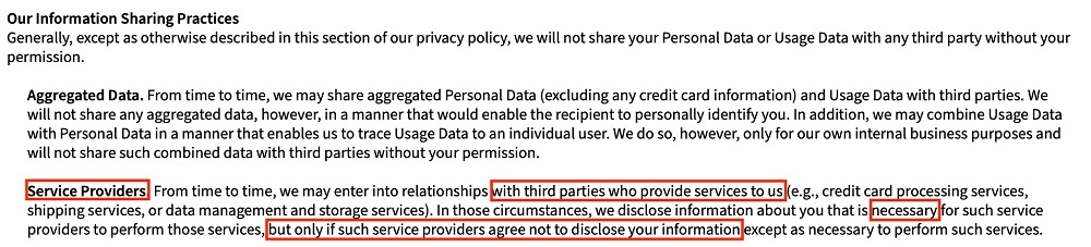 PBworks Privacy Policy: Our Information Sharing Practices clause - Service Providers section highlighted