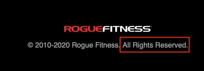 Rogue Fitness Copyright Notice
