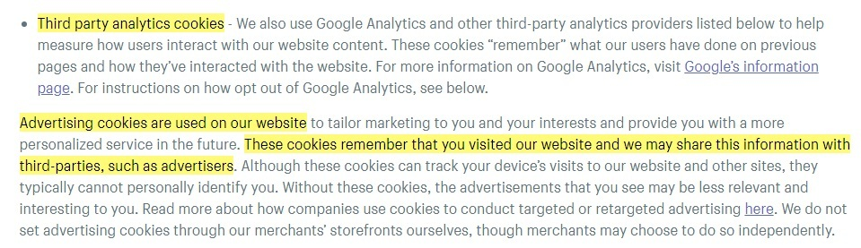 Shopify Cookie Policy: Third Party Analytics and Advertising Cookies clauses