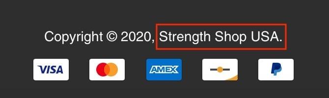 Strength Shop Copyright Notice
