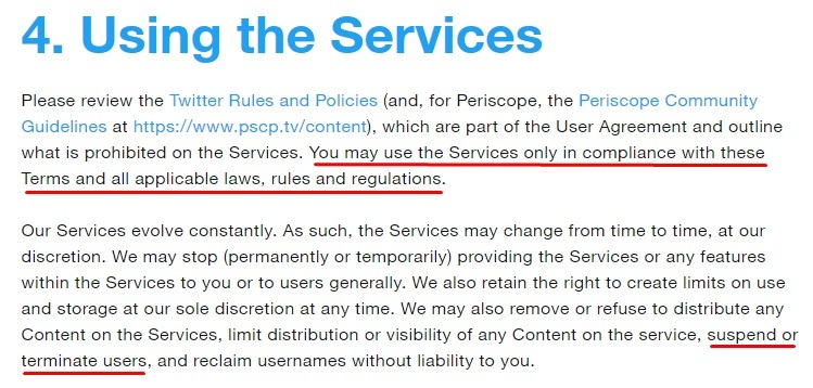 Twitter Terms of Service: Using the Services clause excerpt