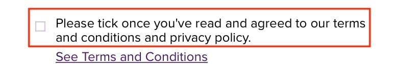 Urban Decay create account form with Agree to Terms and Conditions and Privacy Policy checkbox