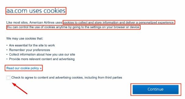 American Airlines Cookie Consent Notice