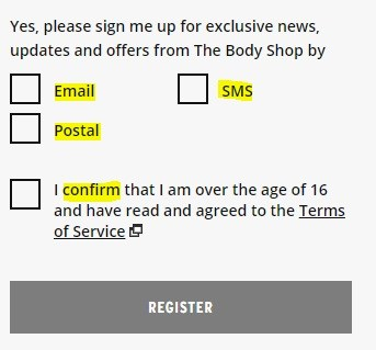 The Body Shop Register Account form with checkboxes for consent to marketing content