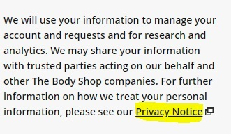 The Body Shop Register Account form: How it will use information with Privacy Notice link
