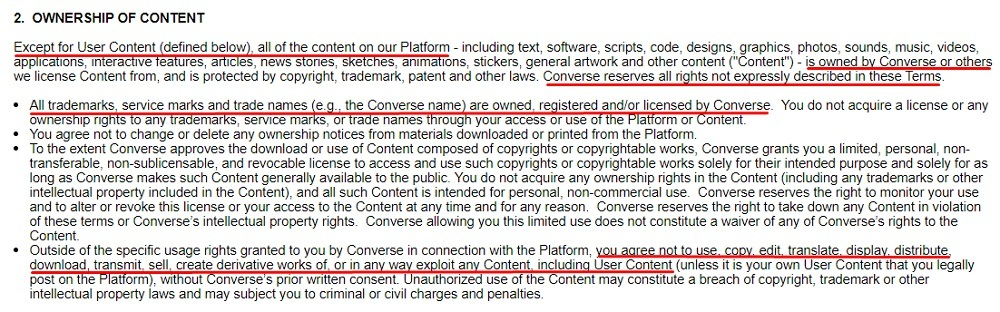 Converse Terms of Use: Ownership of Content clause