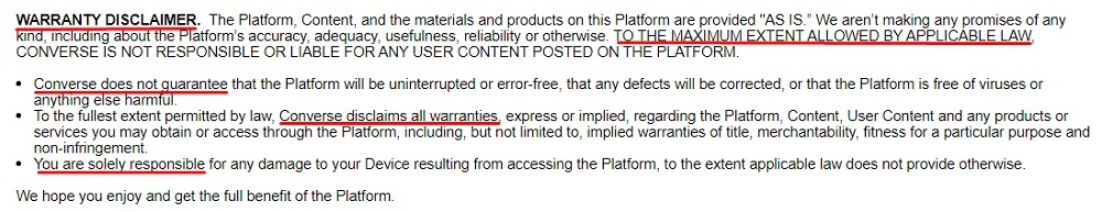 Converse Terms of Use: Warranty Disclaimer clause