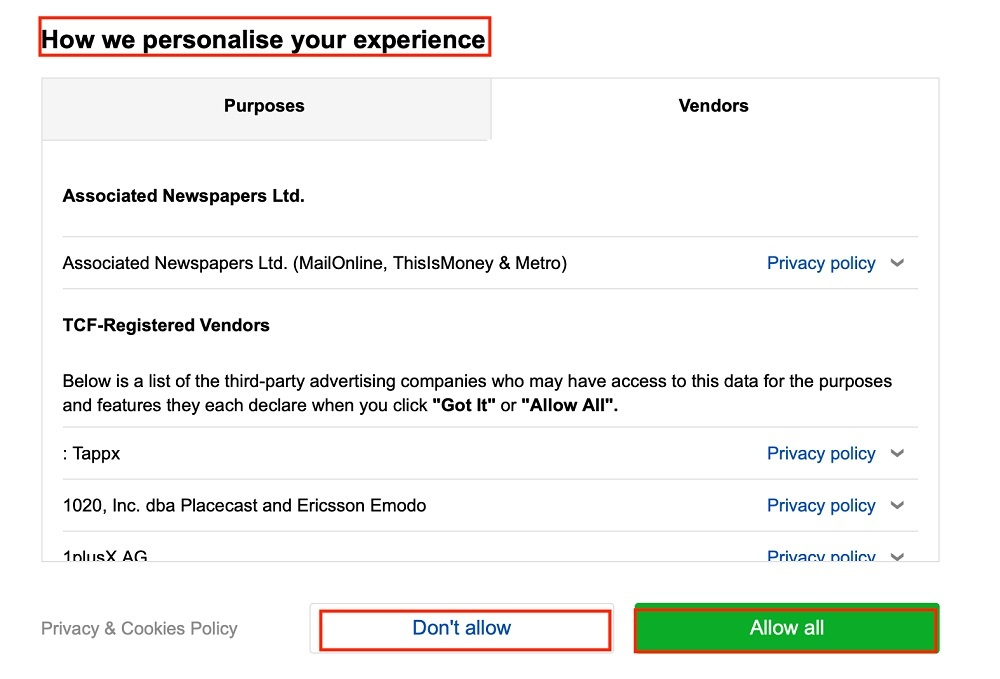 Daily Mail Cookie Consent Notice with Allow and Don't Allow buttons highlighted