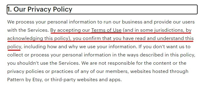 Etsy Privacy Policy: Accepting the Terms of Use section