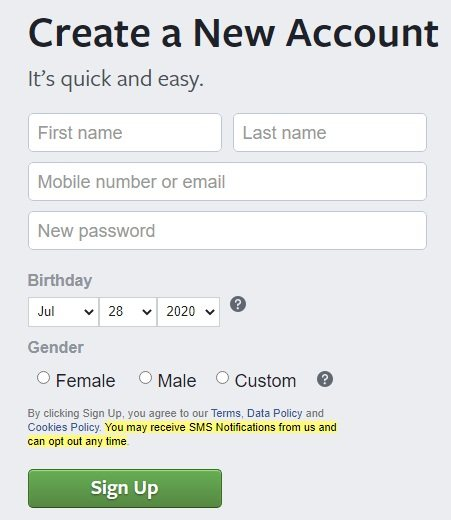 Facebook Create Account form with SMS Notifications highlighted
