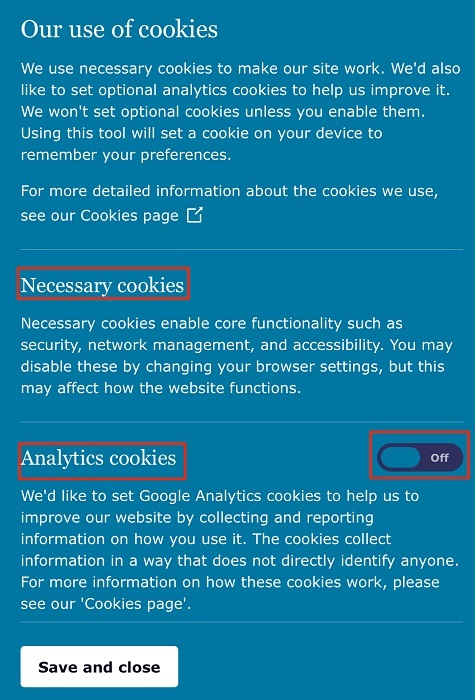 ICO Cookie Consent Notice with toggle button highlighted