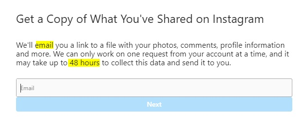 Instagram Data Access Request form