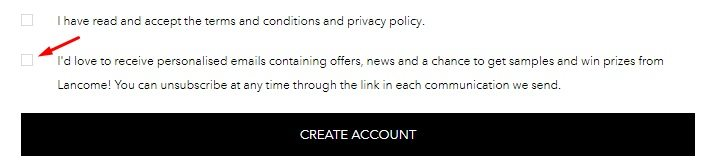 Lancome Create Account form with consent checkboxes
