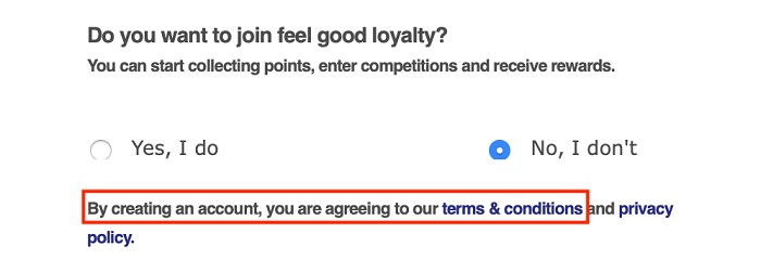 Neals Yard Remedies Loyalty: Account sign-up form with Agree to Terms and Conditions highlighted