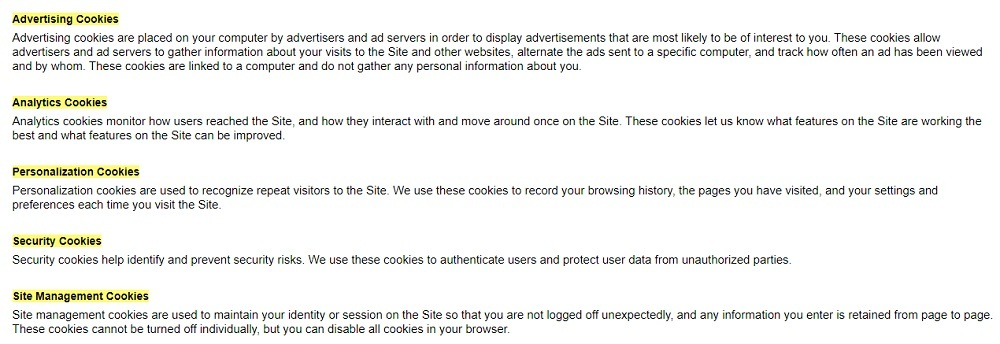 Rogue Fitness Cookie Policy: Excerpt of Types of cookies used clause