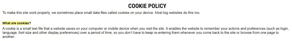 Rogue Fitness Cookie Policy: What are cookies clause