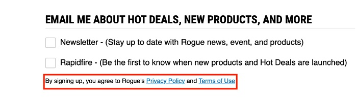 Rogue Fitness USA email sign-up form with implied consent highlighted
