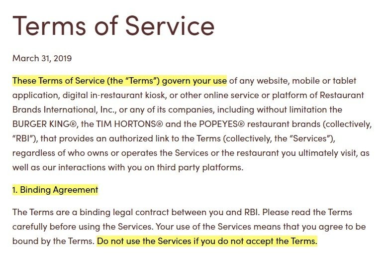 Tim Hortons Terms of Service: Introduction and Binding Agreement section