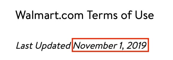 Walmart Terms of Use effective and updated date