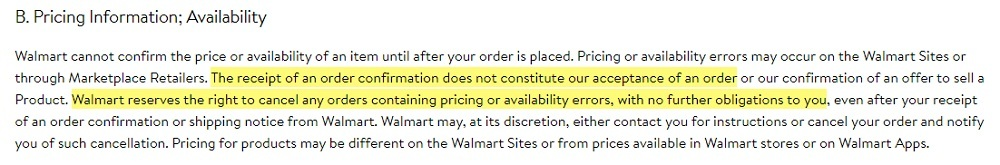 Walmart Terms of Use: Pricing Information and Availability clause
