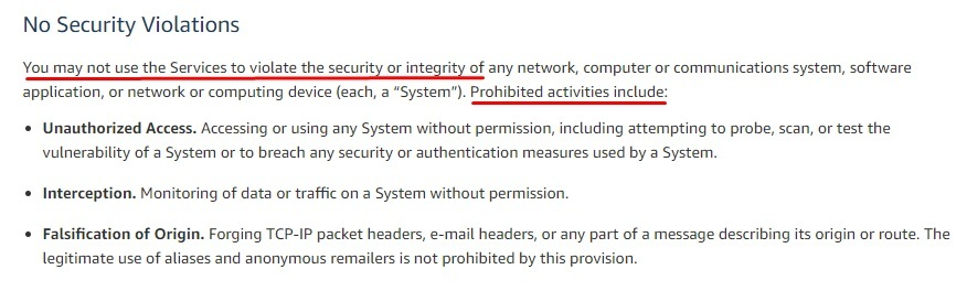 Amazon Web Services Acceptable Use Policy: No security violations