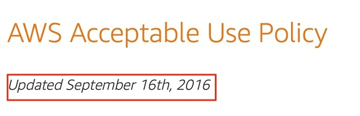 Amazon Web Services Acceptable Use Policy: Updated date section
