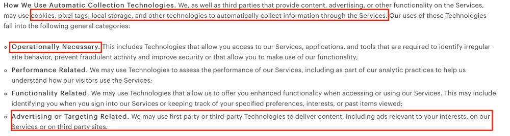 Everlane Privacy Policy: How We Use Automatic Collection Technologies clause
