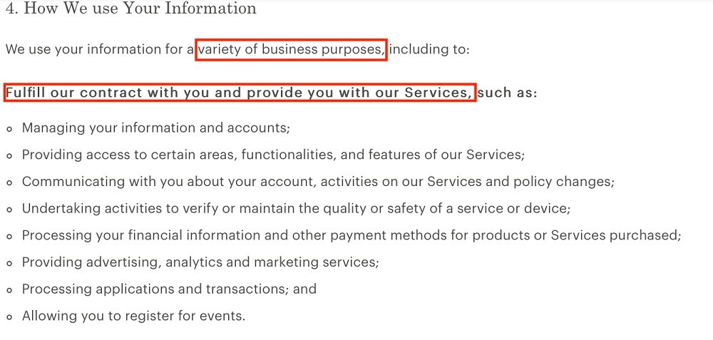 Everlane Privacy Policy: How We Use Your Information clause - Fulfill a Contract section
