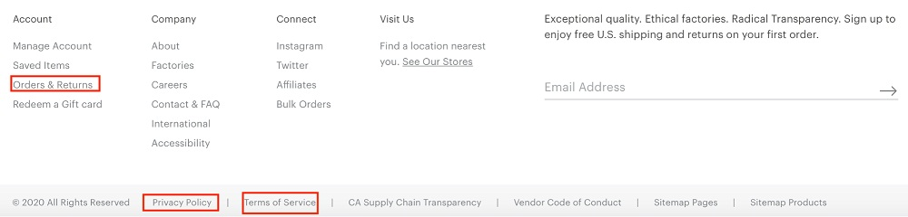 Everlane website footer with Privacy Policy, Terms of Use, Orders and Returns policy links highlighted