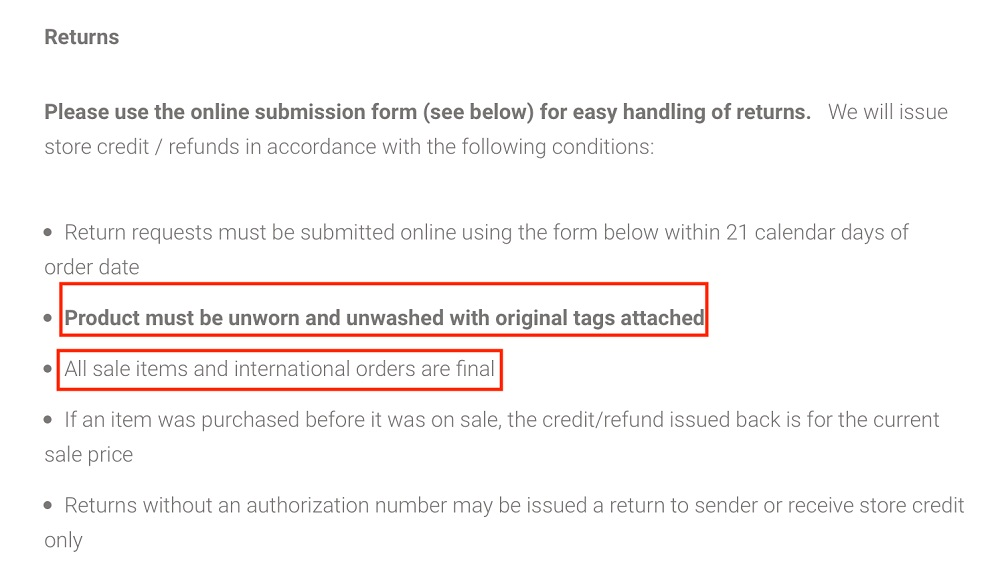 FLEO Returns and Exchanges Policy: Conditions of return and final sale sections highlighted