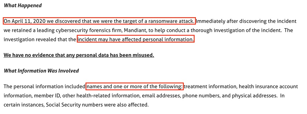 Magellan Health: Notice of Security Incident - What happened and what information was involved sections