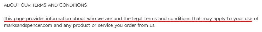 Marks and Spencer Terms and Conditions: About our Terms and Conditions clause