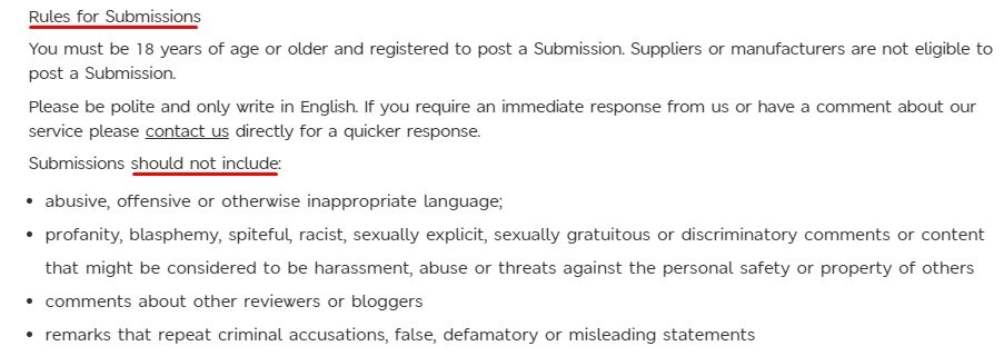 Marks and Spencer Terms and Conditions: Rules for Submissions clause excerpt