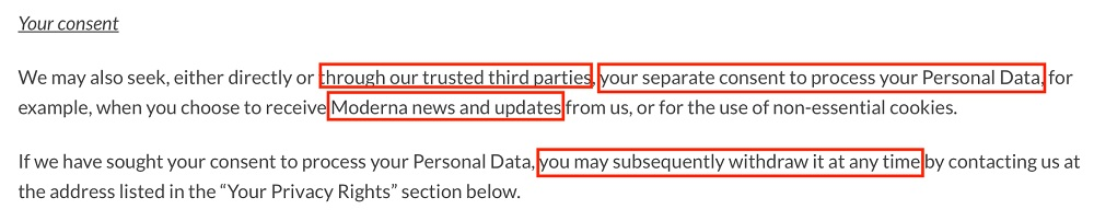 Moderna Privacy Policy: Consent clause