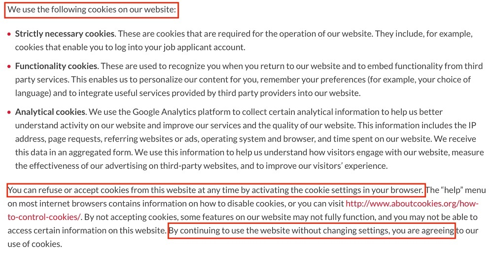 Moderna Privacy Policy: Cookies clause