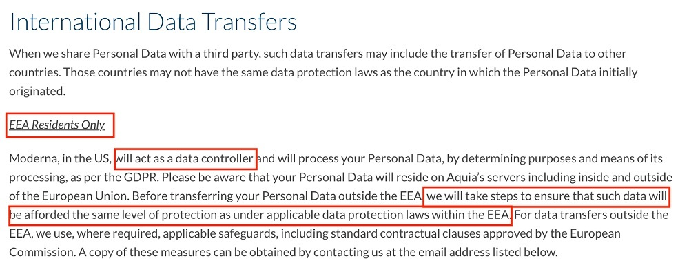 Moderna Privacy Policy: International Data Transfers clause - EEA Residents section