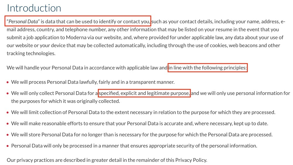 Moderna Privacy Policy: Introduction clause