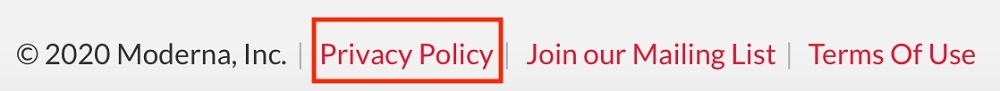 Moderna website footer with Privacy Policy link highlighted