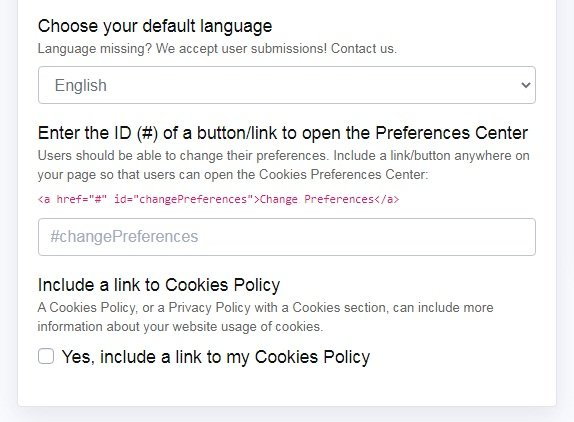 PrivacyPolicies.com: Cookies Consent - Customize your Cookie Consent widget - Step 2