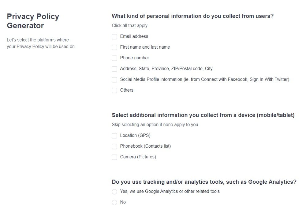 PrivacyPolicies.com: Privacy Policy Generator - Answer questions from our wizard - Step 3