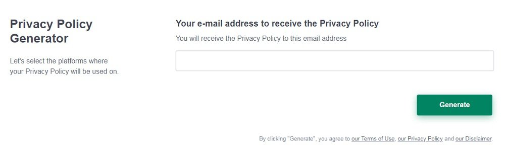 PrivacyPolicies.com: Privacy Policy Generator - Enter your email address - Step 4
