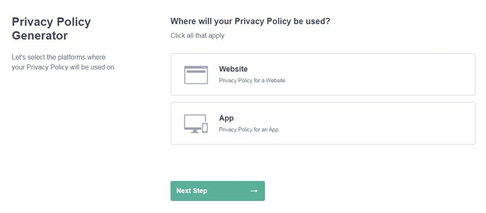 PrivacyPolicies.com: Privacy Policy Generator - Select platforms - Step 1