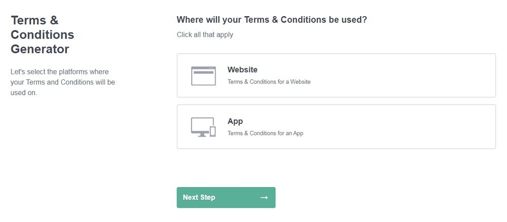PrivacyPolicies.com - Terms and Conditions Generator: Create your Terms and Conditions - Step 1