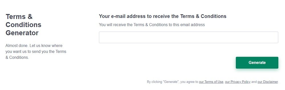 PrivacyPolicies.com - Terms and Conditions Generator: Enter your email address - Step 4